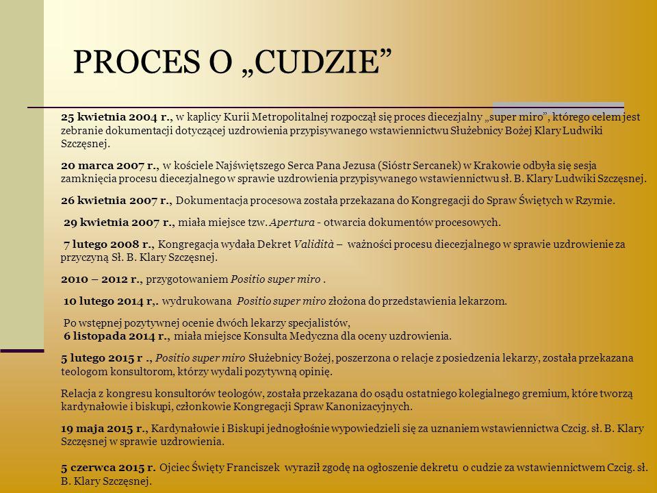 """PROCES O """"CUDZIE"""" 25 kwietnia 2004 r., w kaplicy Kurii Metropolitalnej rozpoczął się proces diecezjalny """"super miro"""", którego celem jest zebranie doku"""