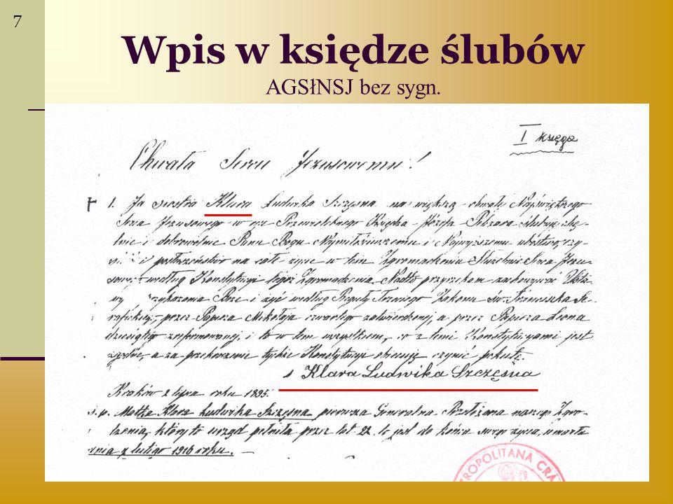 Wpis w księdze ślubów AGSłNSJ bez sygn. 7
