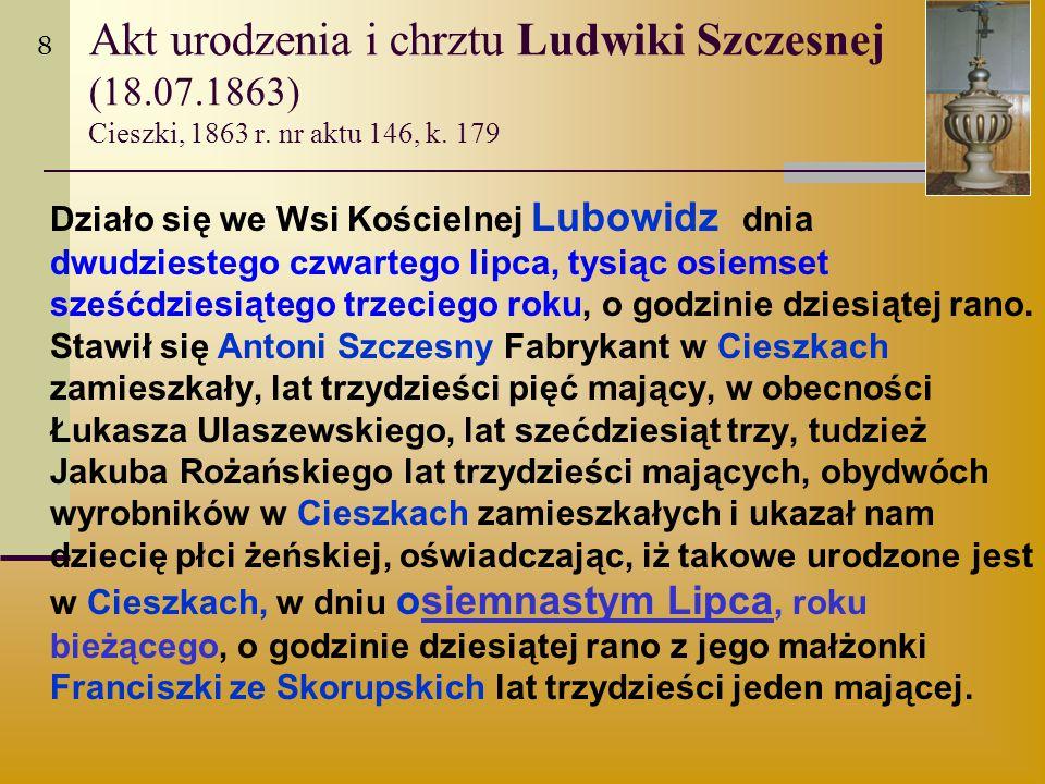 Akt urodzenia i chrztu Ludwiki Szczesnej (18.07.1863) Cieszki, 1863 r. nr aktu 146, k. 179 Działo się we Wsi Kościelnej Lubowidz dnia dwudziestego czw