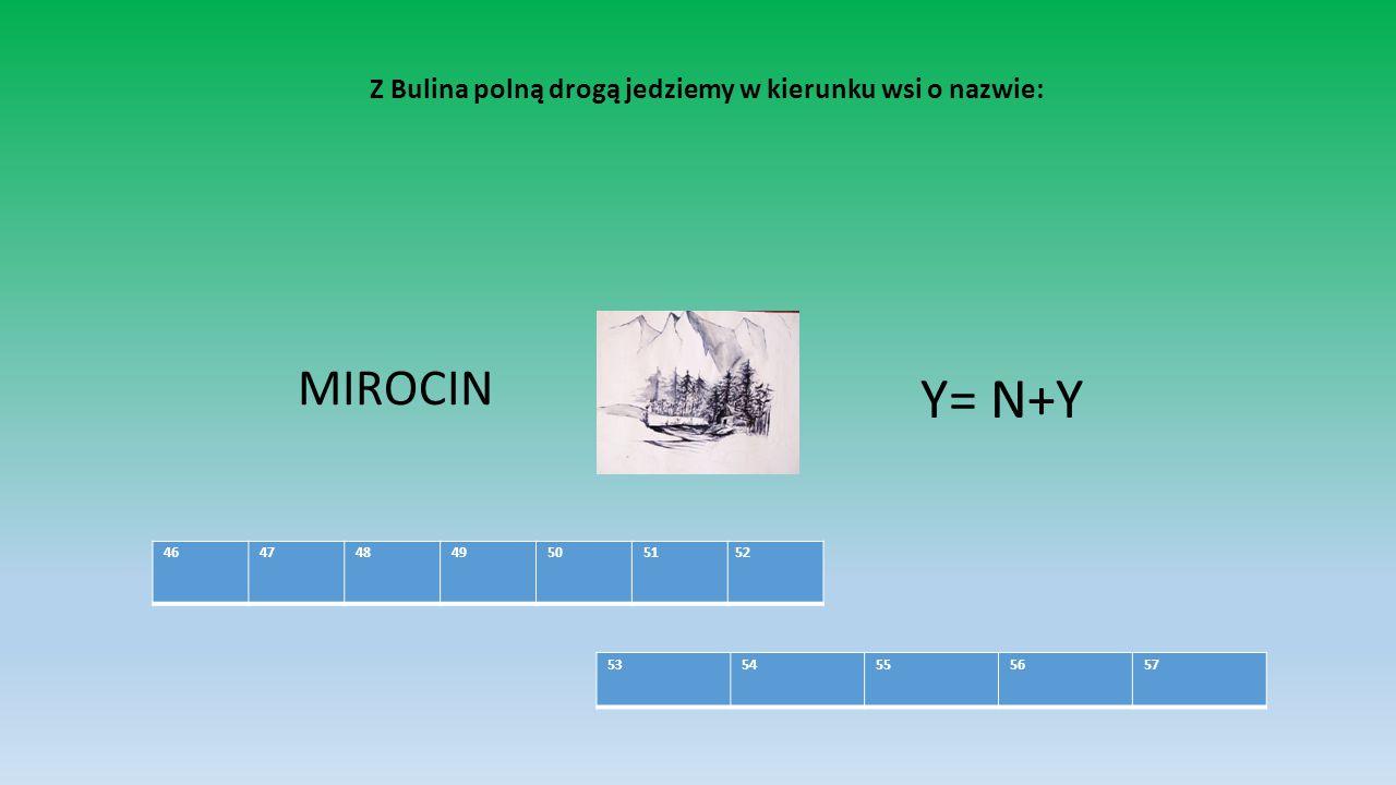 Z Bulina polną drogą jedziemy w kierunku wsi o nazwie: MIROCIN Y= N+Y 46 47 48 49 50 5152 53 54 55 56 57