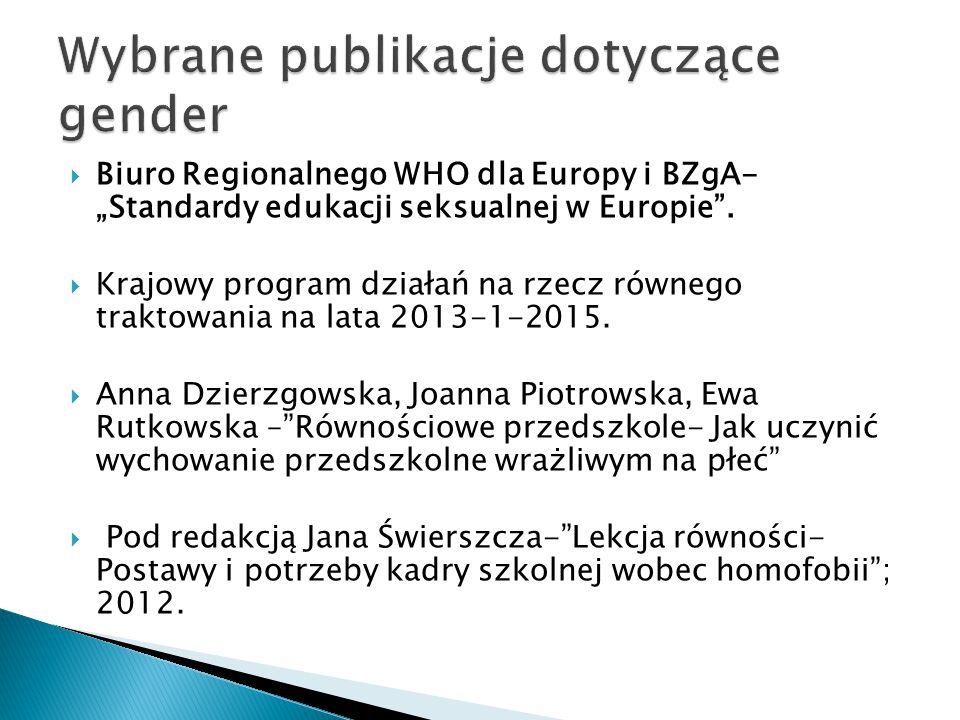 """ Biuro Regionalnego WHO dla Europy i BZgA- """"Standardy edukacji seksualnej w Europie"""".  Krajowy program działań na rzecz równego traktowania na lata"""