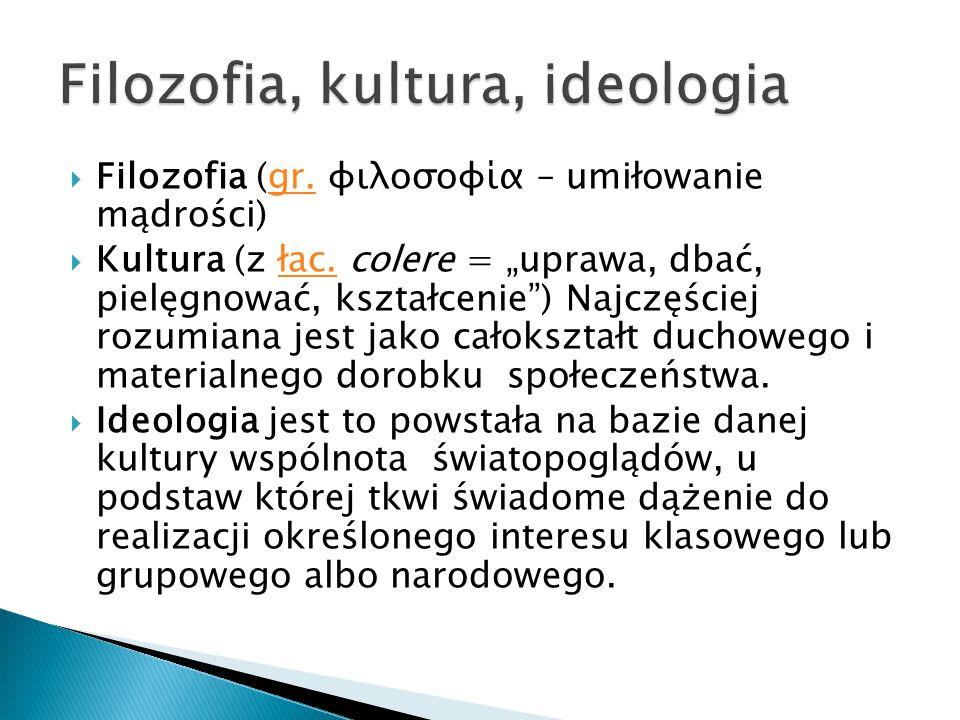 """ Filozofia (gr. φιλοσοφία – umiłowanie mądrości) gr.  Kultura (z łac. colere = """"uprawa, dbać, pielęgnować, kształcenie"""") Najczęściej rozumiana jest"""