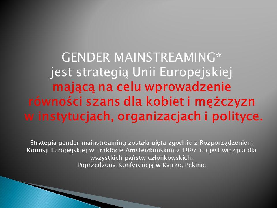 GENDER MAINSTREAMING* jest strategią Unii Europejskiej mającą na celu wprowadzenie równości szans dla kobiet i mężczyzn w instytucjach, organizacjach