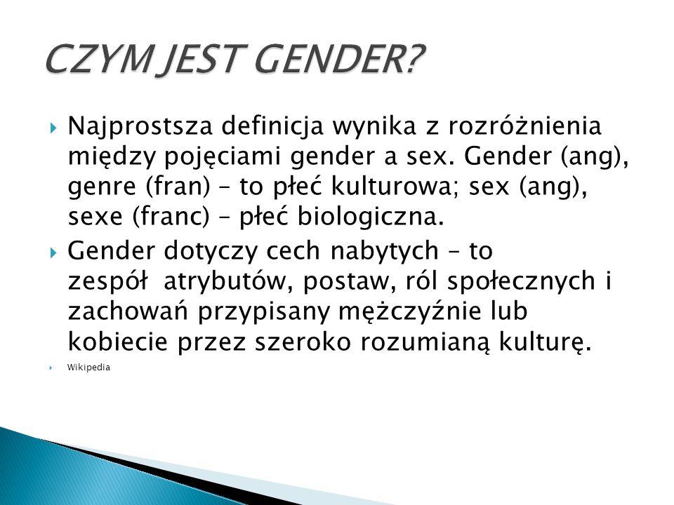  Najprostsza definicja wynika z rozróżnienia między pojęciami gender a sex. Gender (ang), genre (fran) – to płeć kulturowa; sex (ang), sexe (franc) –