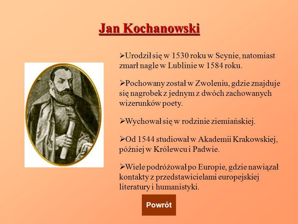Jan Kochanowski  Urodził się w 1530 roku w Scynie, natomiast zmarł nagle w Lublinie w 1584 roku.  Pochowany został w Zwoleniu, gdzie znajduje się na