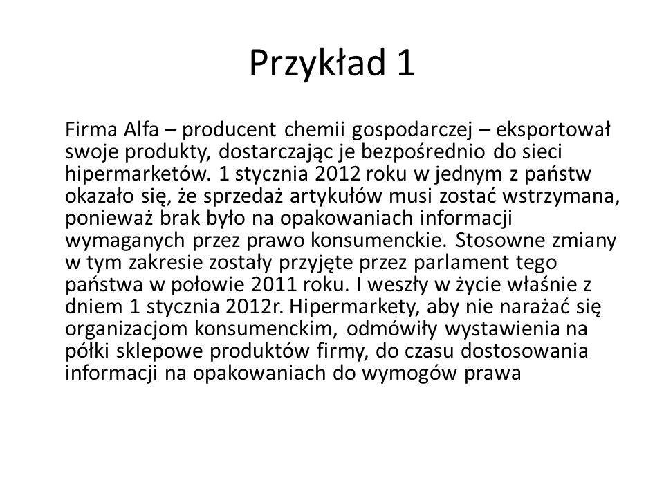 Przykład 1 Firma Alfa – producent chemii gospodarczej – eksportował swoje produkty, dostarczając je bezpośrednio do sieci hipermarketów. 1 stycznia 20