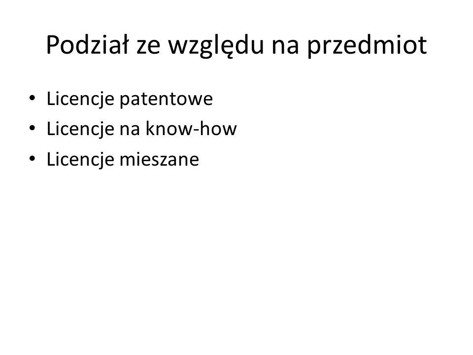 Podział ze względu na przedmiot Licencje patentowe Licencje na know-how Licencje mieszane