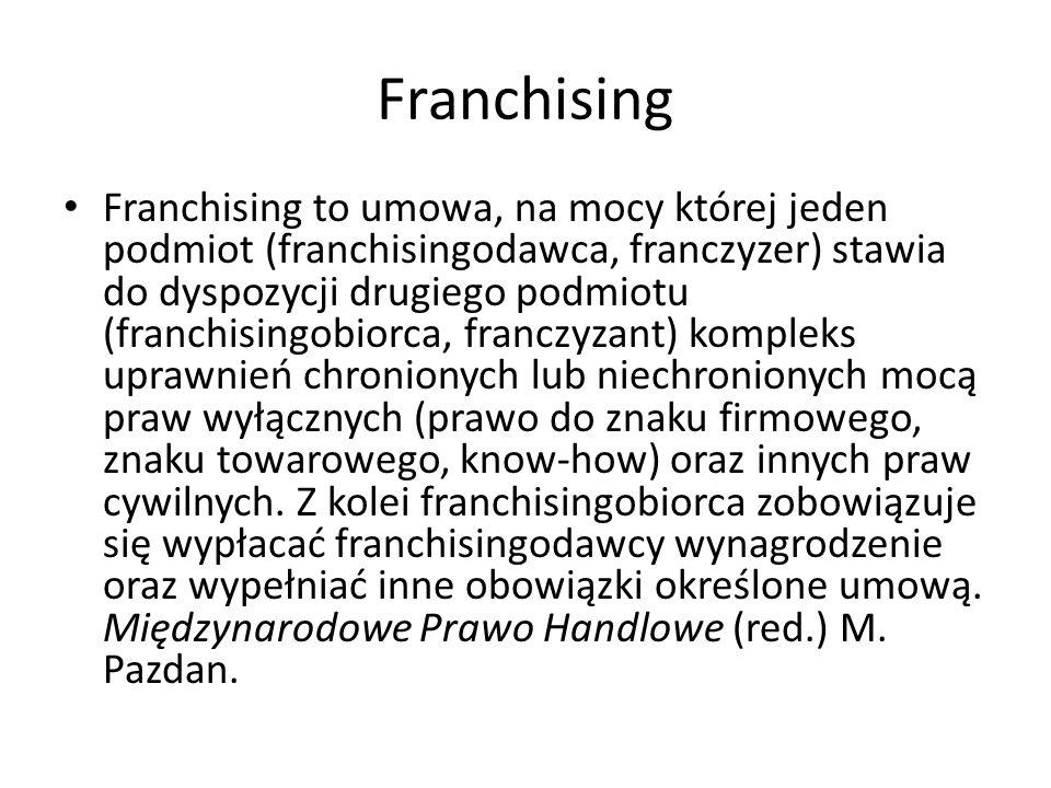 Franchising Franchising to umowa, na mocy której jeden podmiot (franchisingodawca, franczyzer) stawia do dyspozycji drugiego podmiotu (franchisingobio