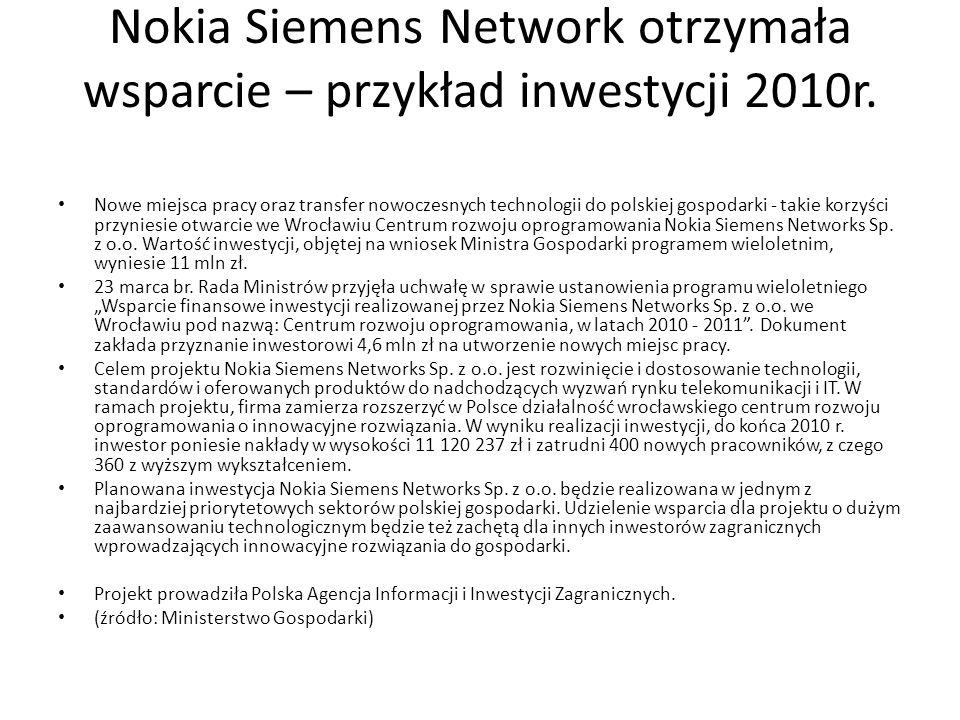 Nokia Siemens Network otrzymała wsparcie – przykład inwestycji 2010r. Nowe miejsca pracy oraz transfer nowoczesnych technologii do polskiej gospodarki