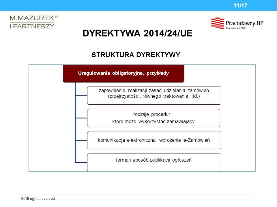 DYREKTYWA 2014/24/UE ® All rights reserved 11/17 STRUKTURA DYREKTYWY Uregulowania obligatoryjne, przykłady zapewnienie realizacji zasad udzielania zamówień (przejrzystości, równego traktowania, itd.) rodzaje procedur, które może wykorzystać zamawiający komunikacja elektroniczna, wdrożenie e-Zamówień forma i sposób publikacji ogłoszeń