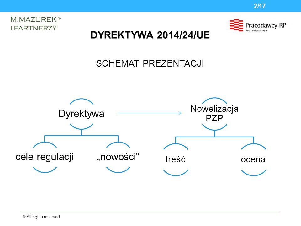 """SCHEMAT PREZENTACJI ® All rights reserved 2/17 DYREKTYWA 2014/24/UE Dyrektywa cele regulacji""""nowości Nowelizacja PZP treśćocena"""