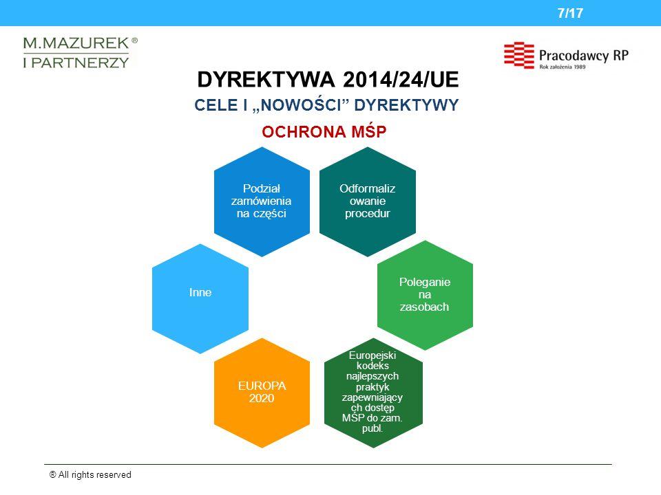 DYREKTYWA 2014/24/UE ® All rights reserved 7/17 OCHRONA MŚP Odformaliz owanie procedur Podział zamówienia na części Inne Poleganie na zasobach Europejski kodeks najlepszych praktyk zapewniający ch dostęp MŚP do zam.
