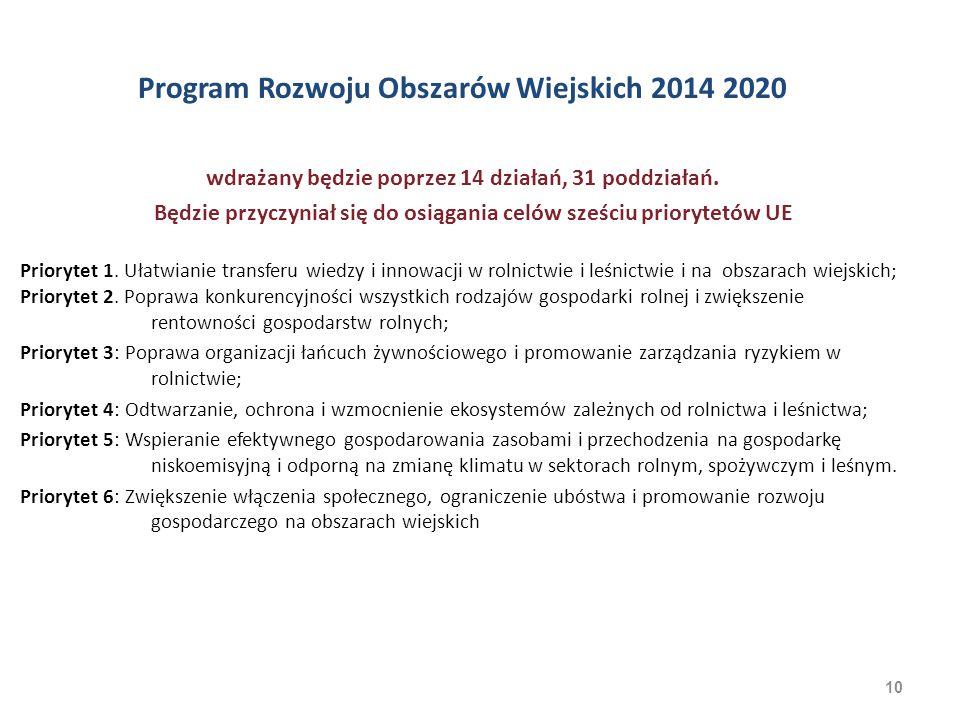 10 Program Rozwoju Obszarów Wiejskich 2014 2020 wdrażany będzie poprzez 14 działań, 31 poddziałań. Będzie przyczyniał się do osiągania celów sześciu p