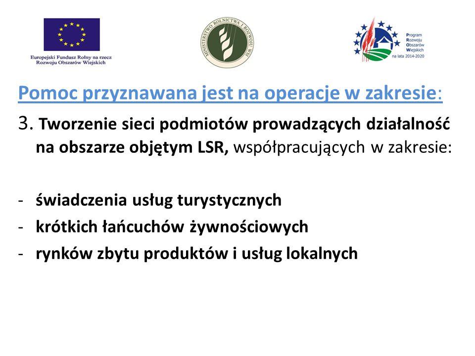 Pomoc przyznawana jest na operacje w zakresie: 3. Tworzenie sieci podmiotów prowadzących działalność na obszarze objętym LSR, współpracujących w zakre