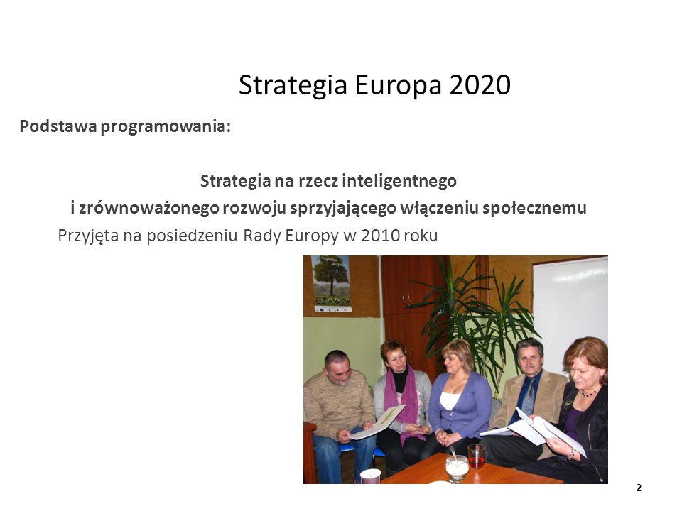 3 Strategia Europa 2020 Strategia Europa 2020 wyznacza pięć długookresowych celów:  w obszarze zatrudnienia (zwiększenie udziału osób zatrudnionych w wieku produkcyjnym do 75 %;  badań naukowych i innowacji (przeznaczenie minimum 3% PKB na ten cel);  edukacji (liczbę osób przedwcześnie kończących naukę szkolną ograniczyć do 10%, a co najmniej 40% młodych osób powinno zdobyć wyższe wykształcenie;