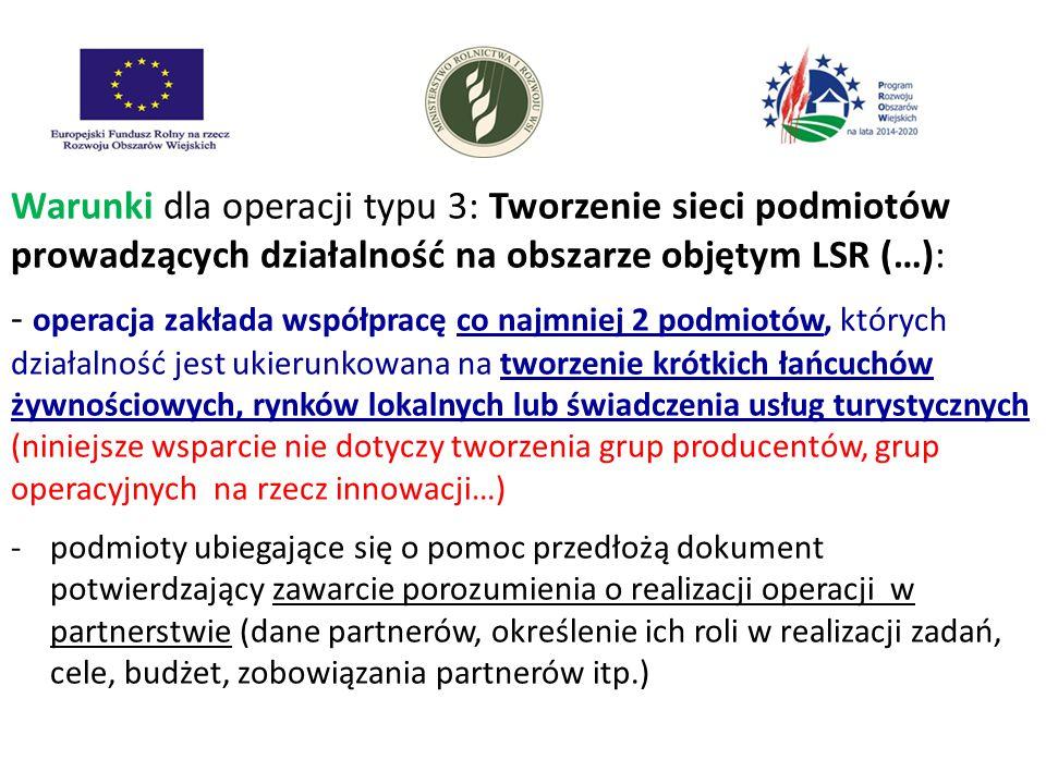 Warunki dla operacji typu 3: Tworzenie sieci podmiotów prowadzących działalność na obszarze objętym LSR (…): - operacja zakłada współpracę co najmniej