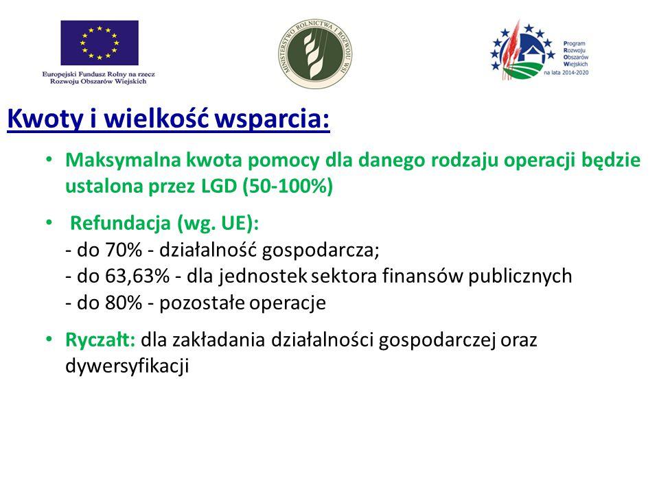 Kwoty i wielkość wsparcia: Maksymalna kwota pomocy dla danego rodzaju operacji będzie ustalona przez LGD (50-100%) Refundacja (wg. UE): - do 70% - dzi