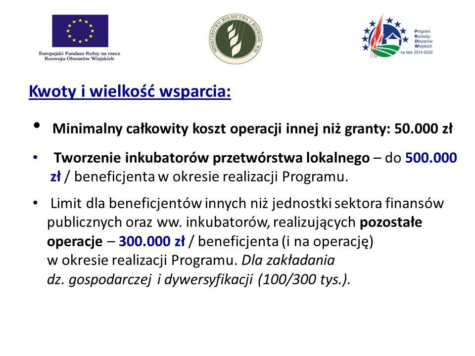 Kwoty i wielkość wsparcia: Minimalny całkowity koszt operacji innej niż granty: 50.000 zł Tworzenie inkubatorów przetwórstwa lokalnego – do 500.000 zł