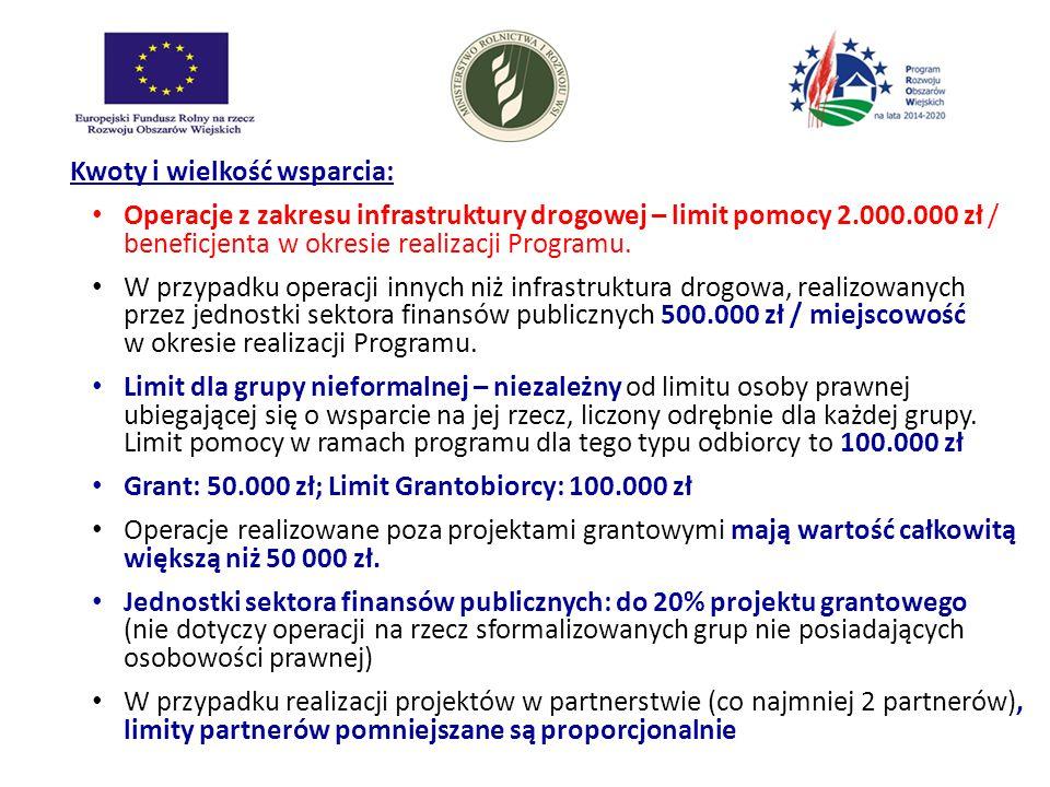 Kwoty i wielkość wsparcia: Operacje z zakresu infrastruktury drogowej – limit pomocy 2.000.000 zł / beneficjenta w okresie realizacji Programu. W przy