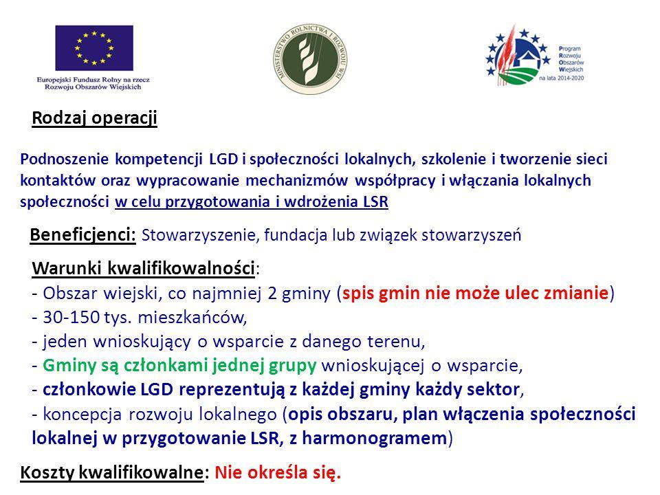Rodzaj operacji Podnoszenie kompetencji LGD i społeczności lokalnych, szkolenie i tworzenie sieci kontaktów oraz wypracowanie mechanizmów współpracy i