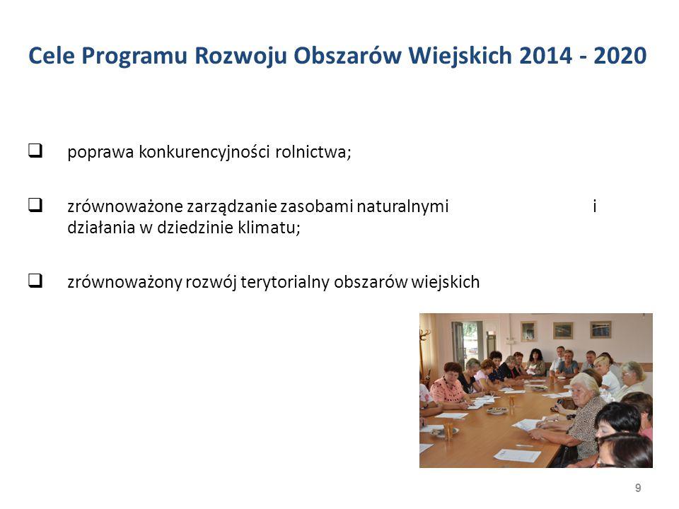 10 Program Rozwoju Obszarów Wiejskich 2014 2020 wdrażany będzie poprzez 14 działań, 31 poddziałań.