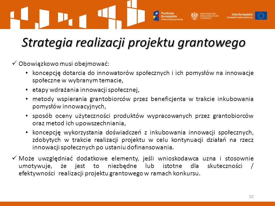 Strategia realizacji projektu grantowego Obowiązkowo musi obejmować: koncepcję dotarcia do innowatorów społecznych i ich pomysłów na innowacje społecz