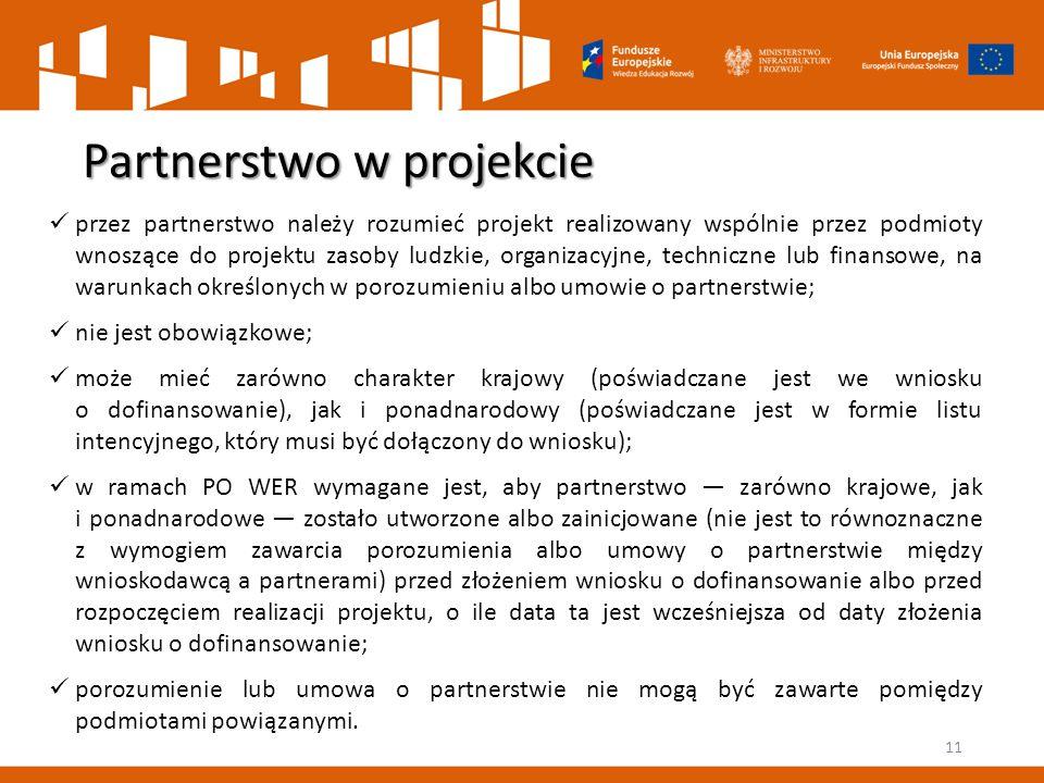 Partnerstwo w projekcie 11 przez partnerstwo należy rozumieć projekt realizowany wspólnie przez podmioty wnoszące do projektu zasoby ludzkie, organiza