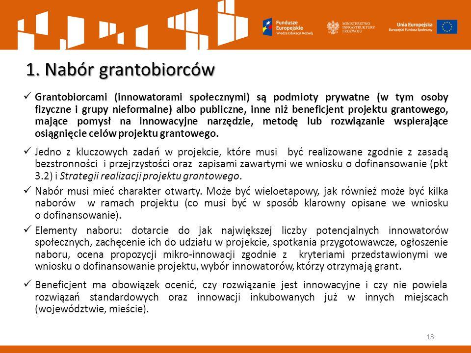 1. Nabór grantobiorców Grantobiorcami (innowatorami społecznymi) są podmioty prywatne (w tym osoby fizyczne i grupy nieformalne) albo publiczne, inne