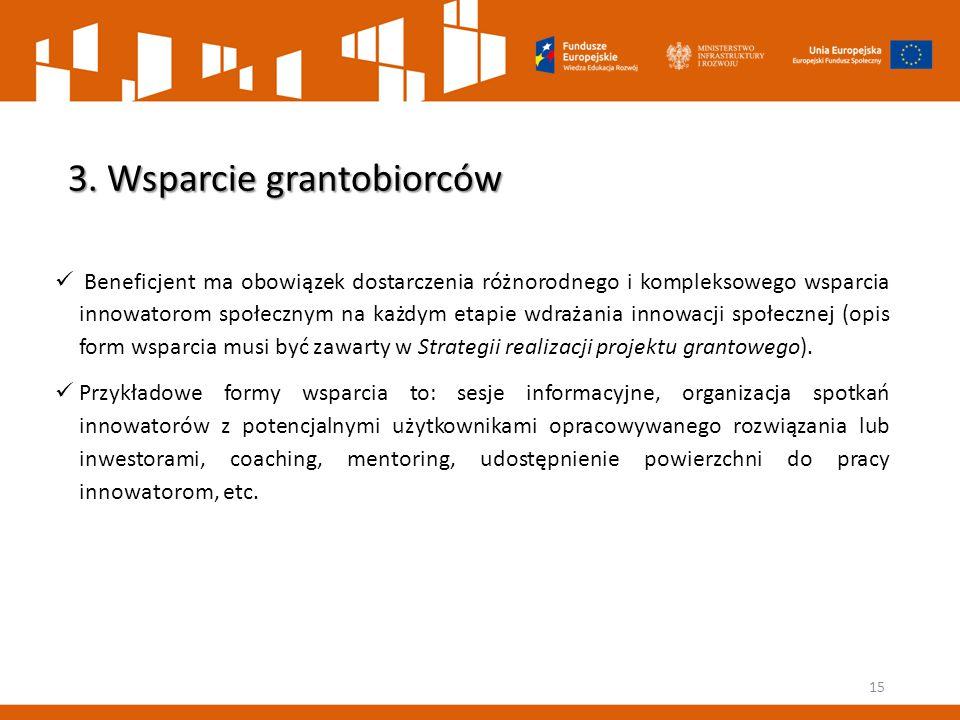 15 3. Wsparcie grantobiorców Beneficjent ma obowiązek dostarczenia różnorodnego i kompleksowego wsparcia innowatorom społecznym na każdym etapie wdraż