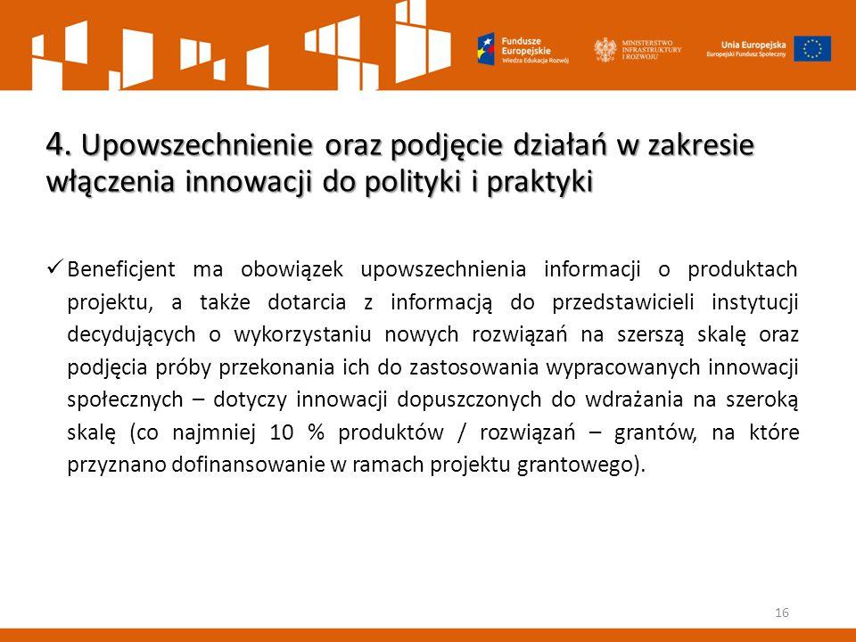 16 4. Upowszechnienie oraz podjęcie działań w zakresie włączenia innowacji do polityki i praktyki Beneficjent ma obowiązek upowszechnienia informacji