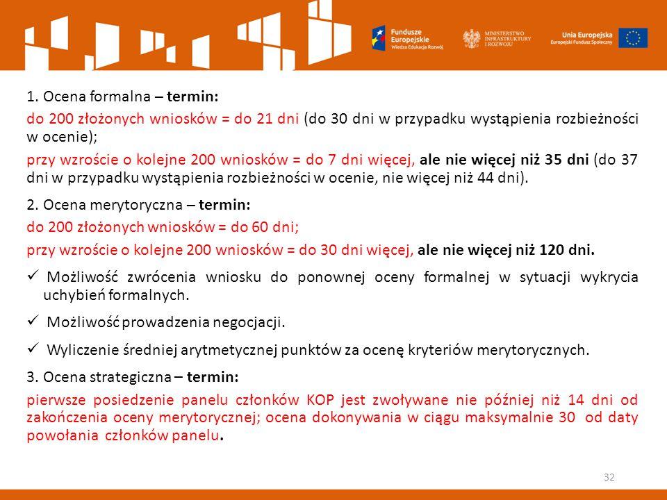 1. Ocena formalna – termin: do 200 złożonych wniosków = do 21 dni (do 30 dni w przypadku wystąpienia rozbieżności w ocenie); przy wzroście o kolejne 2