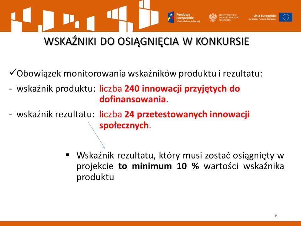 Obowiązek monitorowania wskaźników produktu i rezultatu: -wskaźnik produktu: liczba 240 innowacji przyjętych do dofinansowania. -wskaźnik rezultatu: l