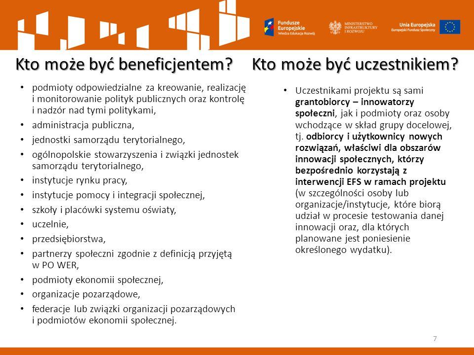 Kto może być beneficjentem? Kto może być uczestnikiem? podmioty odpowiedzialne za kreowanie, realizację i monitorowanie polityk publicznych oraz kontr