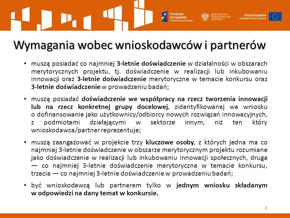 Wymagania wobec wnioskodawców i partnerów muszą posiadać co najmniej 3-letnie doświadczenie w działalności w obszarach merytorycznych projektu, tj. do