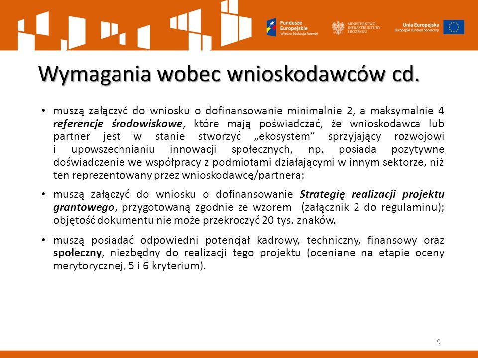 Wymagania wobec wnioskodawców cd. muszą załączyć do wniosku o dofinansowanie minimalnie 2, a maksymalnie 4 referencje środowiskowe, które mają poświad