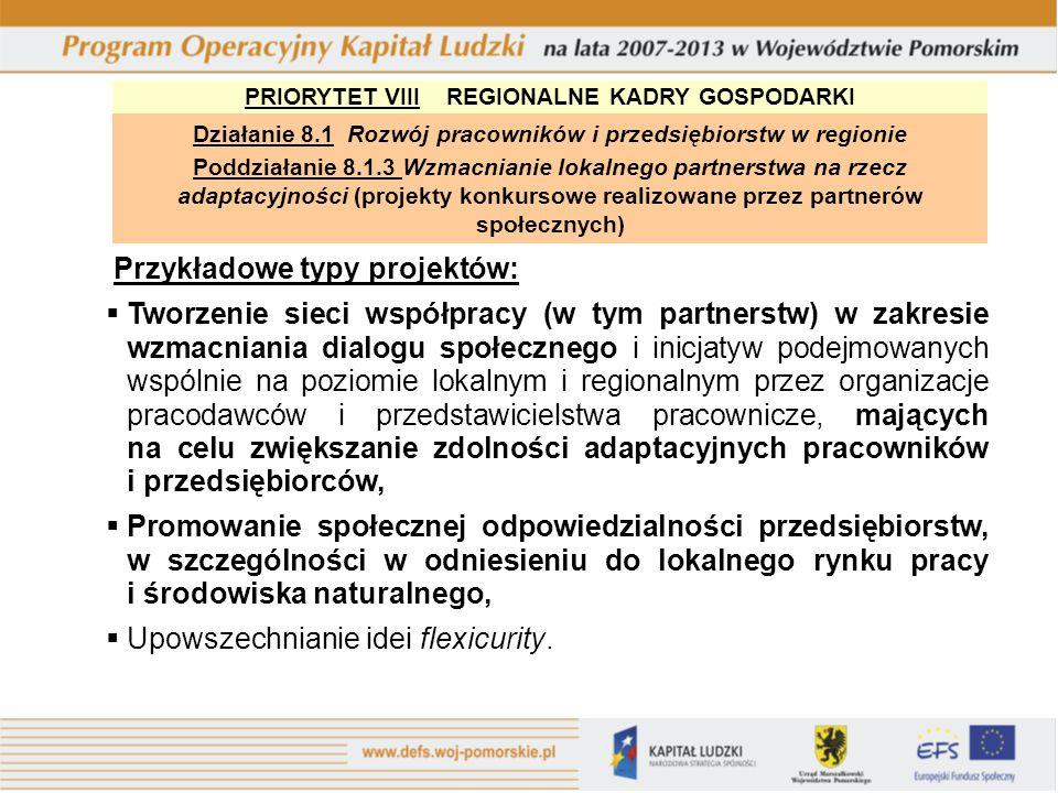 PRIORYTET VIII REGIONALNE KADRY GOSPODARKI Działanie 8.1 Rozwój pracowników i przedsiębiorstw w regionie Poddziałanie 8.1.3 Wzmacnianie lokalnego part