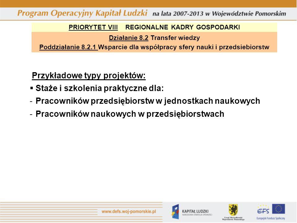 PRIORYTET VIII REGIONALNE KADRY GOSPODARKI Działanie 8.2 Transfer wiedzy Poddziałanie 8.2.1 Wsparcie dla współpracy sfery nauki i przedsiebiorstw Przy