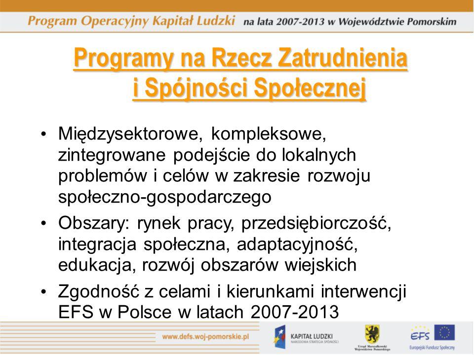 Programy na Rzecz Zatrudnienia i Spójności Społecznej Międzysektorowe, kompleksowe, zintegrowane podejście do lokalnych problemów i celów w zakresie r
