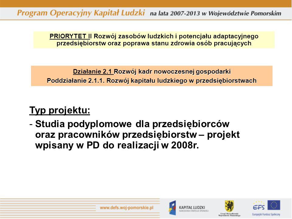 PRIORYTET II Rozwój zasobów ludzkich i potencjału adaptacyjnego przedsiębiorstw oraz poprawa stanu zdrowia osób pracujących Rozwój kadr nowoczesnej gospodarki Działanie 2.1 Rozwój kadr nowoczesnej gospodarki Poddziałanie 2.1.1.