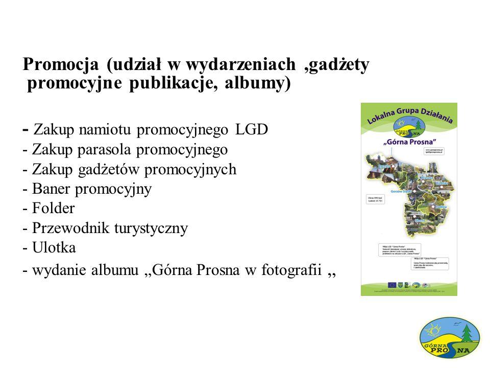 Promocja (udział w wydarzeniach,gadżety promocyjne publikacje, albumy) - Zakup namiotu promocyjnego LGD - Zakup parasola promocyjnego - Zakup gadżetów