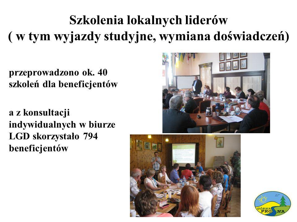 Szkolenia lokalnych liderów ( w tym wyjazdy studyjne, wymiana doświadczeń) przeprowadzono ok. 40 szkoleń dla beneficjentów a z konsultacji indywidualn