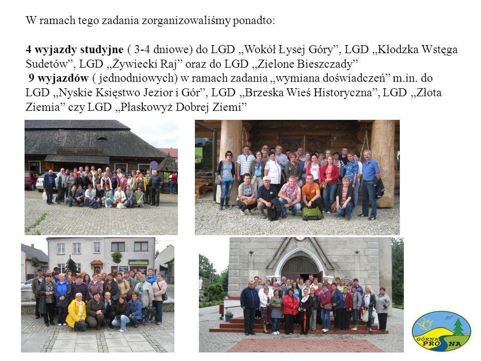 """W ramach tego zadania zorganizowaliśmy ponadto: 4 wyjazdy studyjne ( 3-4 dniowe) do LGD """"Wokół Łysej Góry , LGD """"Kłodzka Wstęga Sudetów , LGD """"Żywiecki Raj oraz do LGD """"Zielone Bieszczady 9 wyjazdów ( jednodniowych) w ramach zadania """"wymiana doświadczeń m.in."""