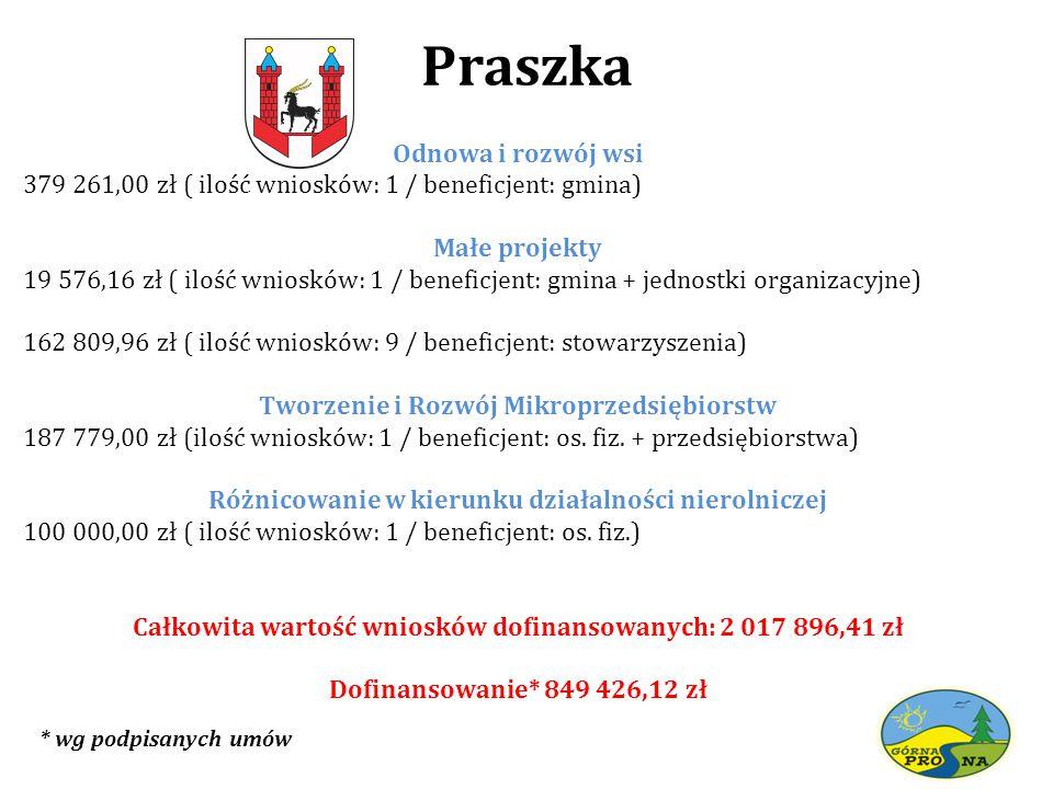Praszka Odnowa i rozwój wsi 379 261,00 zł ( ilość wniosków: 1 / beneficjent: gmina) Małe projekty 19 576,16 zł ( ilość wniosków: 1 / beneficjent: gmin