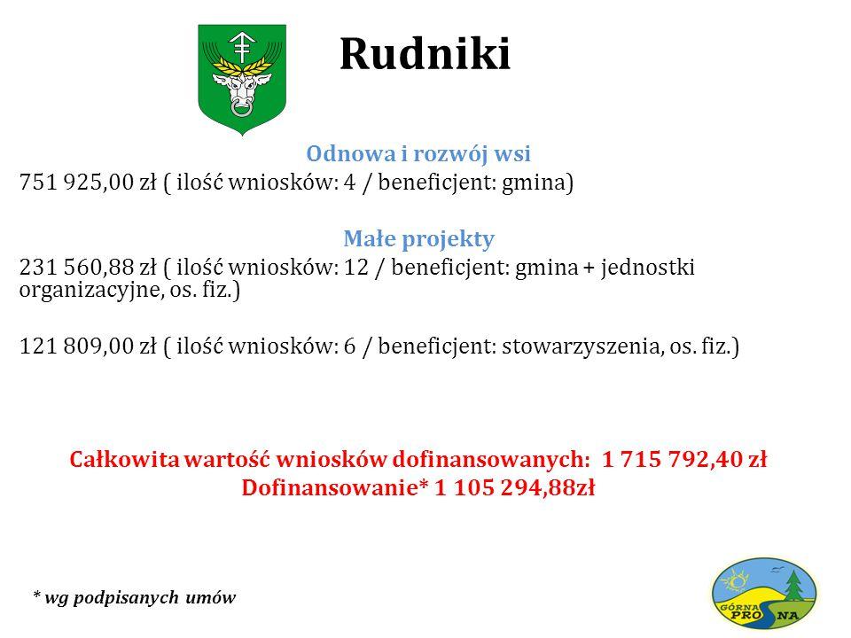 Rudniki Odnowa i rozwój wsi 751 925,00 zł ( ilość wniosków: 4 / beneficjent: gmina) Małe projekty 231 560,88 zł ( ilość wniosków: 12 / beneficjent: gmina + jednostki organizacyjne, os.