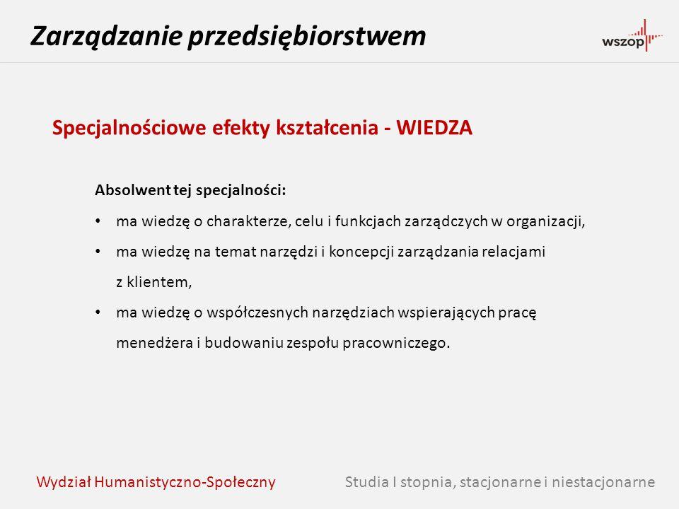 Studia I stopnia, stacjonarne i niestacjonarne Zarządzanie przedsiębiorstwem Wydział Humanistyczno-Społeczny Specjalnościowe efekty kształcenia - WIED