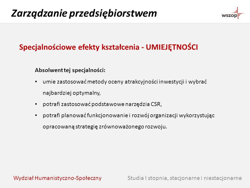 Studia I stopnia, stacjonarne i niestacjonarne Zarządzanie przedsiębiorstwem Wydział Humanistyczno-Społeczny Specjalnościowe efekty kształcenia - UMIE