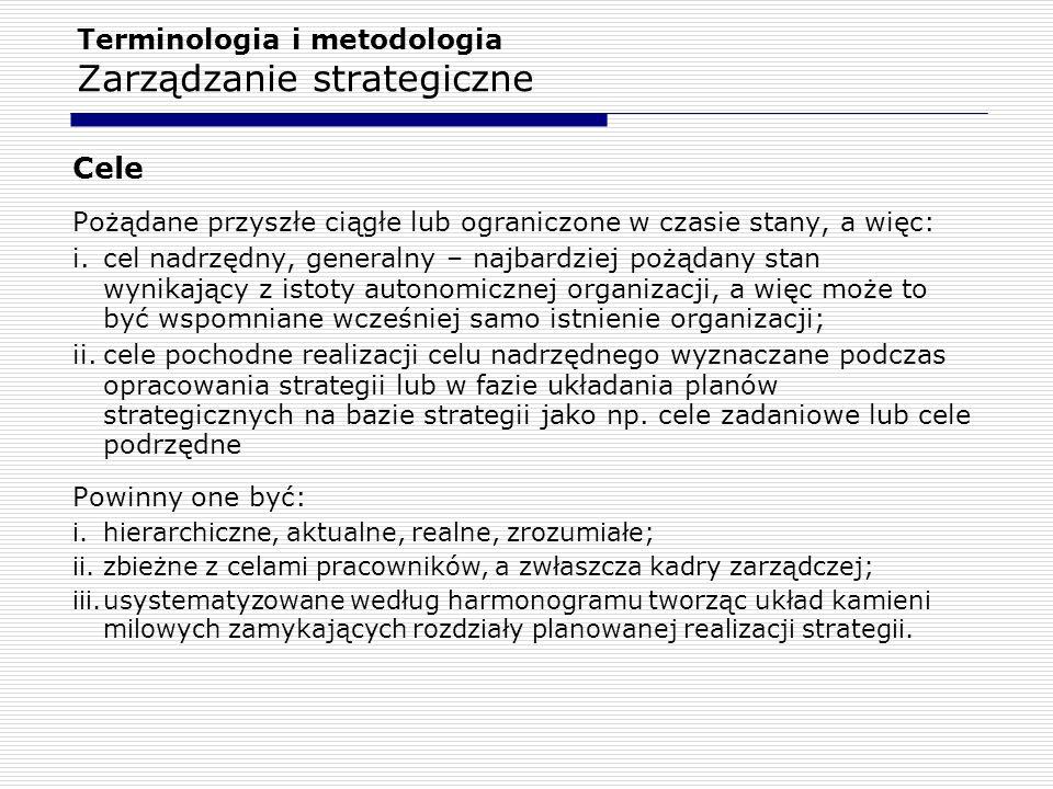 Terminologia i metodologia Zarządzanie strategiczne Cele Pożądane przyszłe ciągłe lub ograniczone w czasie stany, a więc: i.cel nadrzędny, generalny –