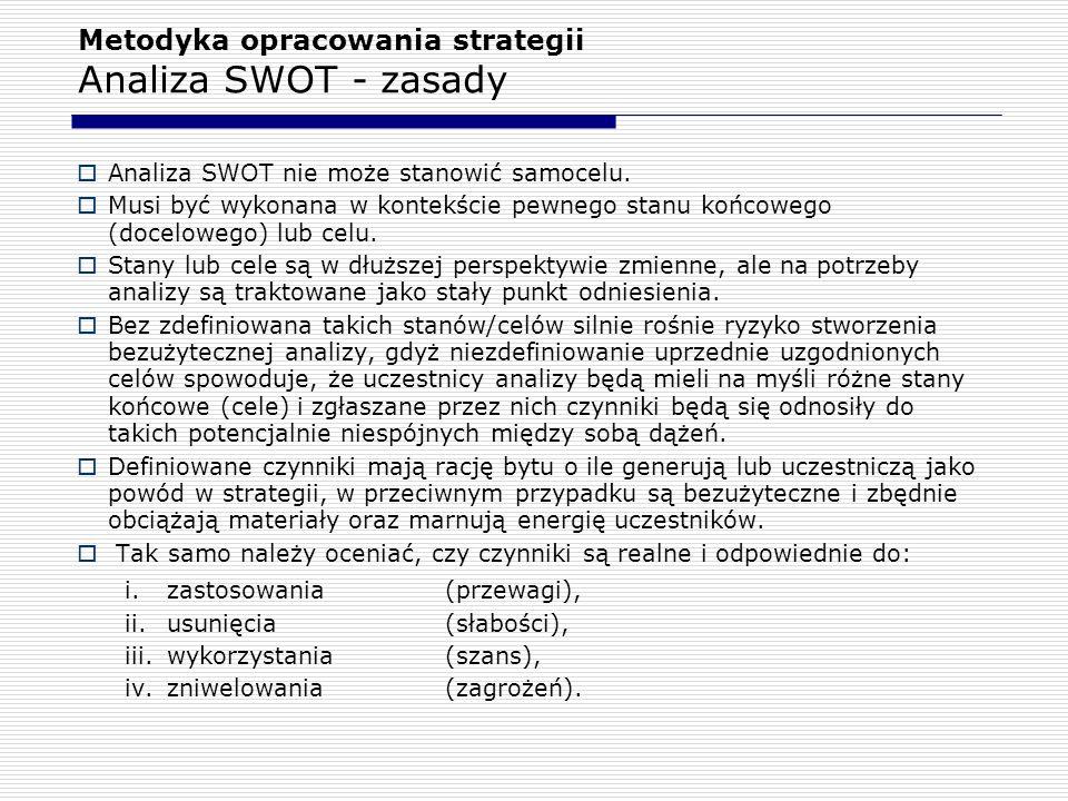 Metodyka opracowania strategii Analiza SWOT - zasady  Analiza SWOT nie może stanowić samocelu.  Musi być wykonana w kontekście pewnego stanu końcowe