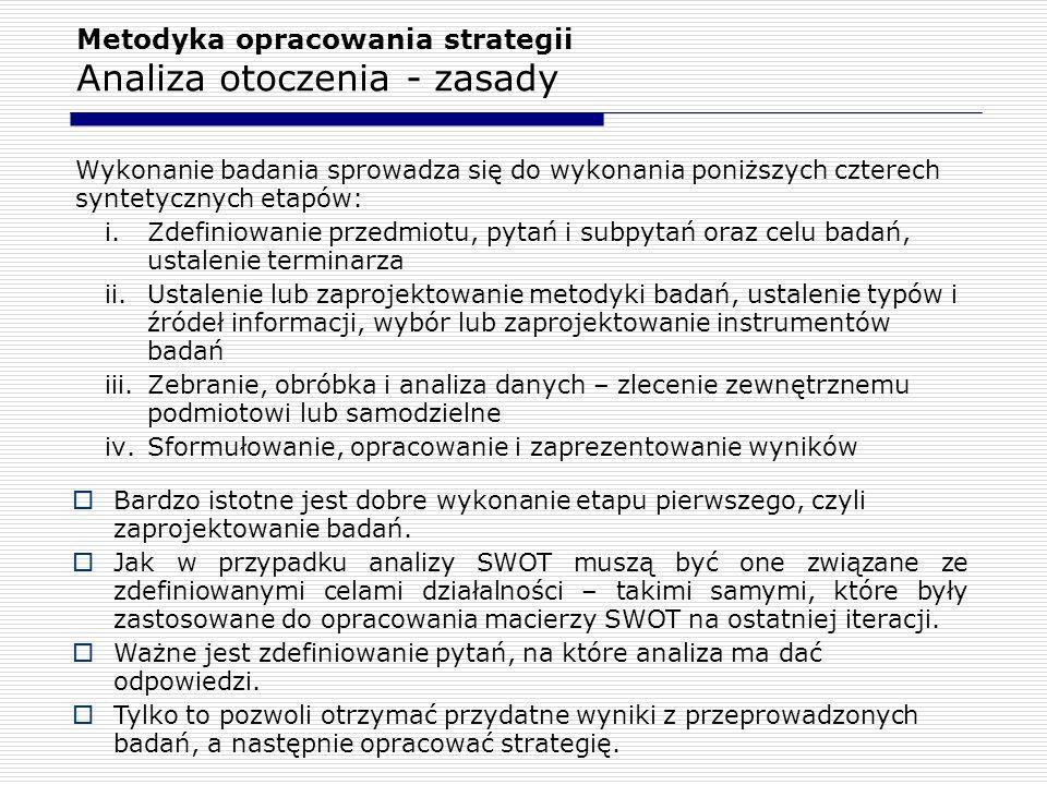 Metodyka opracowania strategii Analiza otoczenia - zasady Wykonanie badania sprowadza się do wykonania poniższych czterech syntetycznych etapów: i.Zde