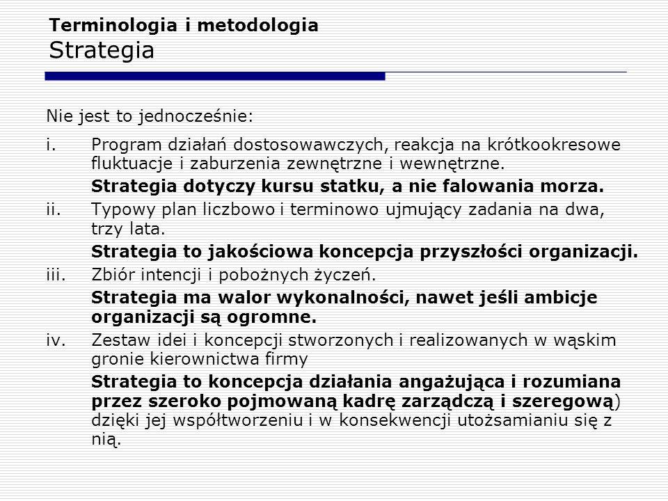 Terminologia i metodologia Strategia Koncepcje strategii 1.racjonalizm strategiczny i.ujęcie planistyczne (tradycyjne i najbardziej popularne) Strategia to tworzenie i wykonywanie planu działania.
